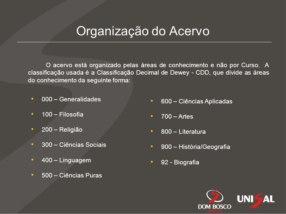 Organização do Acervo O acervo está organizado pelas áreas de conhecimento e não por Curso.