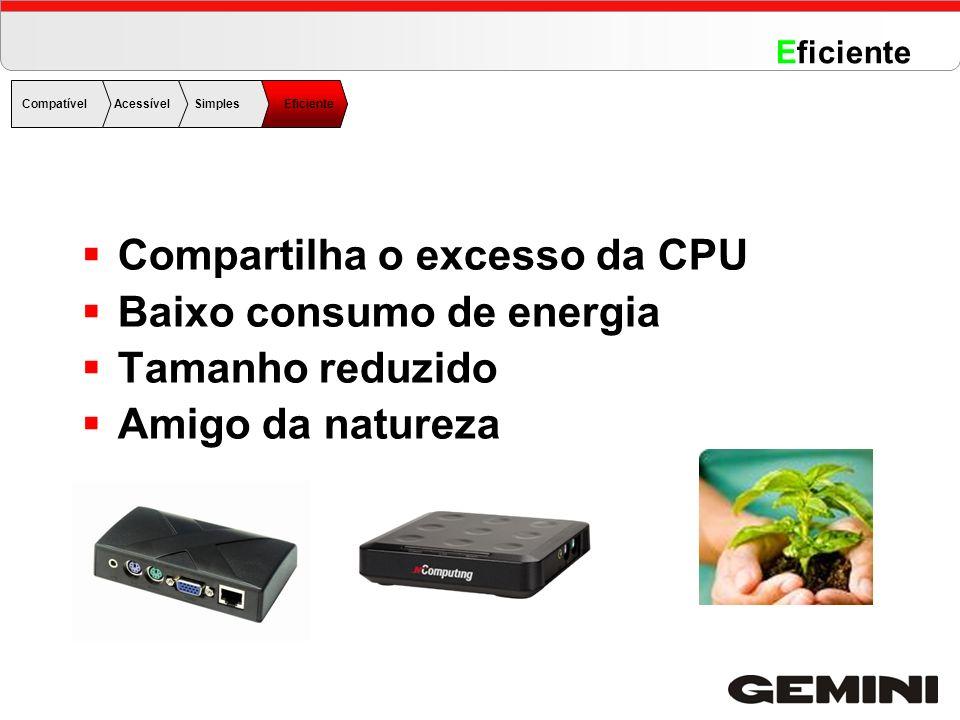 Compartilha o excesso da CPU Baixo consumo de energia Tamanho reduzido Amigo da natureza CompatívelAcessível Simples Eficiente