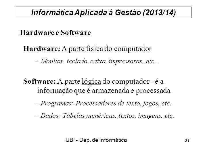 Informática Aplicada à Gestão (2013/14) UBI - Dep. de Informática 21 Hardware e Software Hardware: A parte física do computador –Monitor, teclado, cai