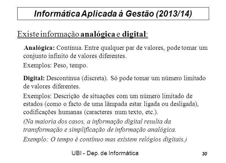Informática Aplicada à Gestão (2013/14) UBI - Dep. de Informática 30 Existe informação analógica e digital: Analógica: Contínua. Entre qualquer par de