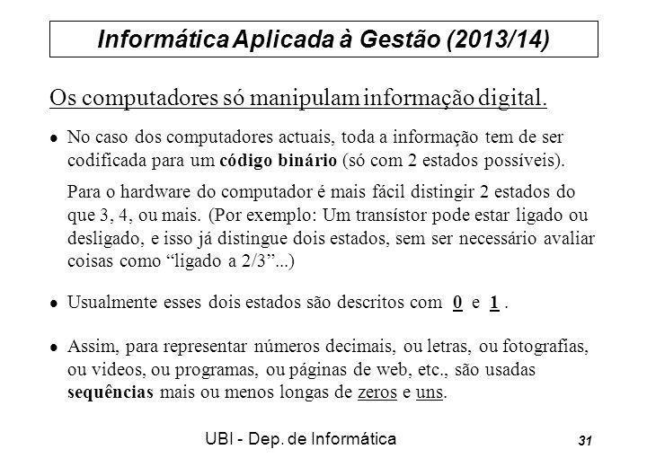 Informática Aplicada à Gestão (2013/14) UBI - Dep. de Informática 31 Os computadores só manipulam informação digital. No caso dos computadores actuais