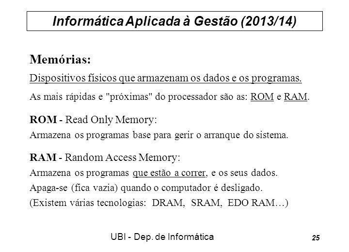 Informática Aplicada à Gestão (2013/14) UBI - Dep. de Informática 25 Memórias: Dispositivos físicos que armazenam os dados e os programas. As mais ráp