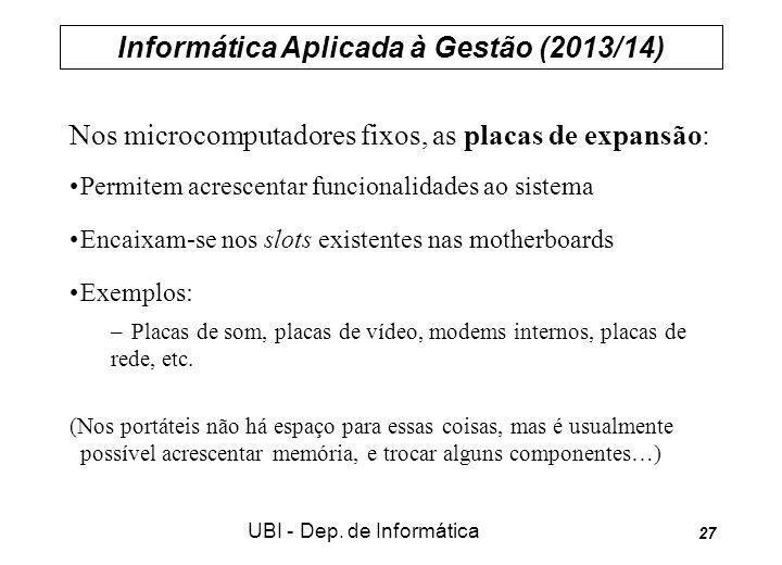 Informática Aplicada à Gestão (2013/14) UBI - Dep. de Informática 27 Nos microcomputadores fixos, as placas de expansão: Permitem acrescentar funciona