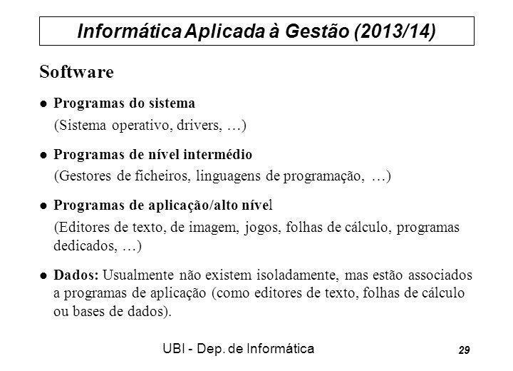 Informática Aplicada à Gestão (2013/14) UBI - Dep. de Informática 29 Software Programas do sistema (Sistema operativo, drivers, …) Programas de nível