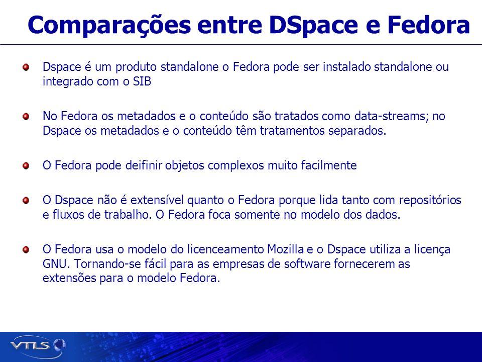 Visionary Technology in Library Solutions Comparações entre DSpace e Fedora Dspace é um produto standalone o Fedora pode ser instalado standalone ou integrado com o SIB No Fedora os metadados e o conteúdo são tratados como data-streams; no Dspace os metadados e o conteúdo têm tratamentos separados.