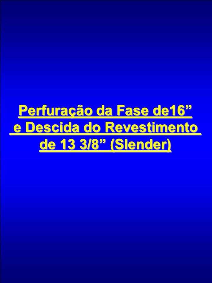 Perfuração da Fase de16 e Descida do Revestimento e Descida do Revestimento de 13 3/8 (Slender)