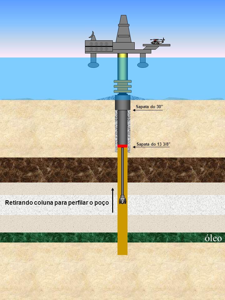 óleo Sapata do 30 Sapata do 13 3/8 Retirando coluna para perfilar o poço