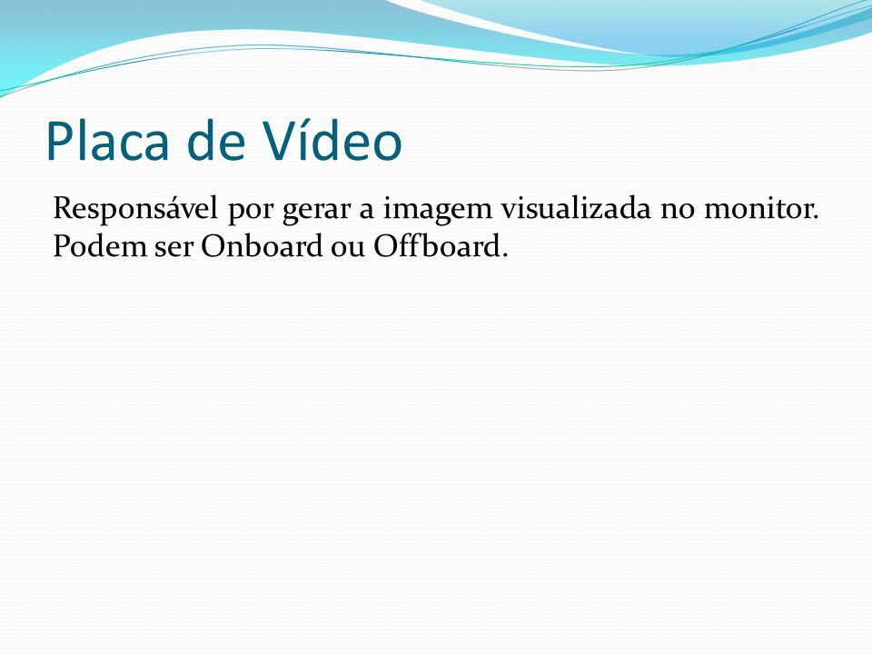 Placa de Vídeo Responsável por gerar a imagem visualizada no monitor. Podem ser Onboard ou Offboard.