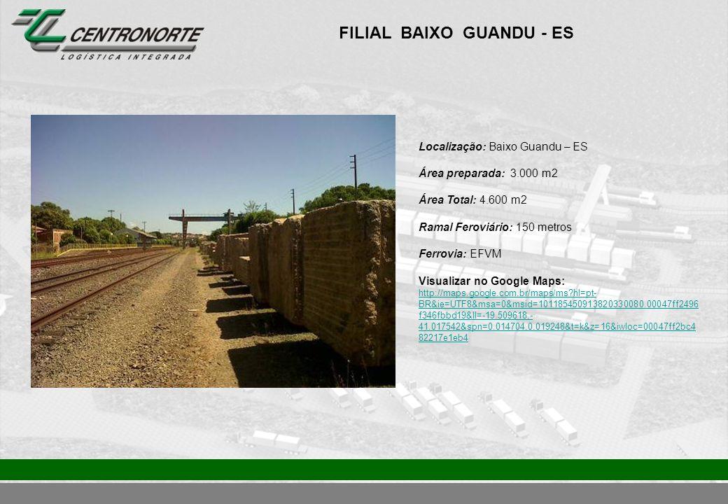FILIAL BAIXO GUANDU - ES Localização: Baixo Guandu – ES Área preparada: 3.000 m2 Área Total: 4.600 m2 Ramal Feroviário: 150 metros Ferrovia: EFVM Visu