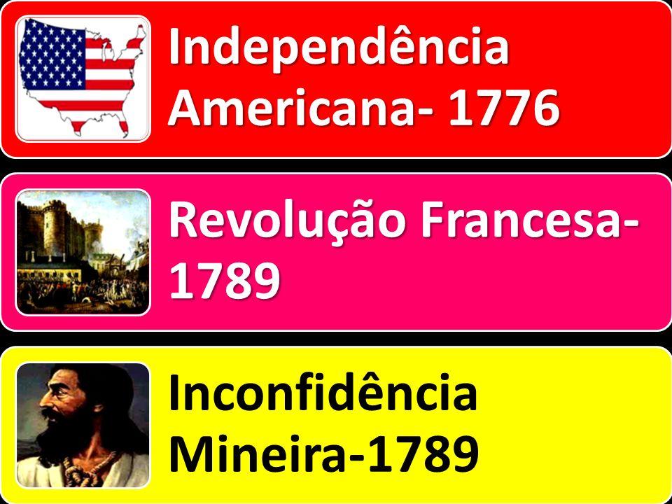 Independência Americana- 1776 Revolução Francesa- 1789 Inconfidência Mineira-1789