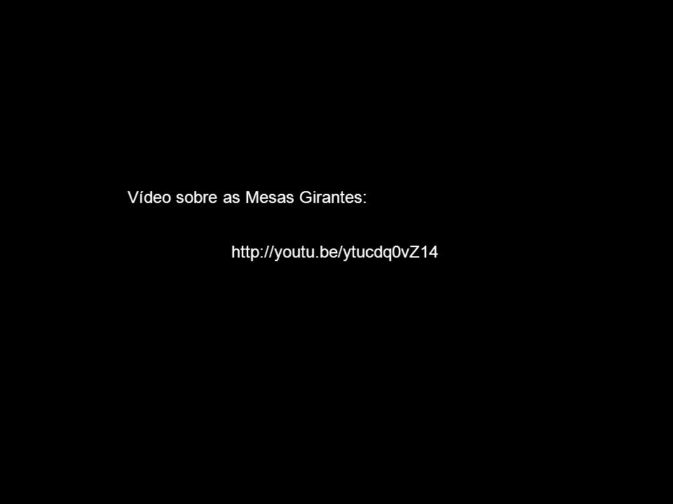 http://youtu.be/ytucdq0vZ14 Vídeo sobre as Mesas Girantes: