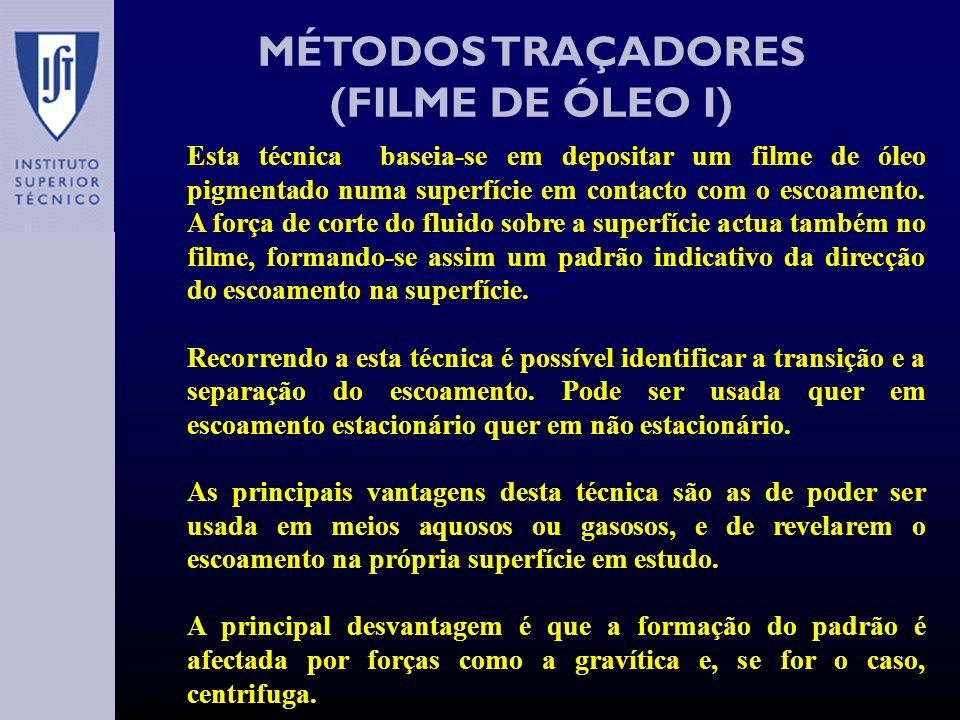 MÉTODOS TRAÇADORES (FILME DE ÓLEO I) Esta técnica baseia-se em depositar um filme de óleo pigmentado numa superfície em contacto com o escoamento.
