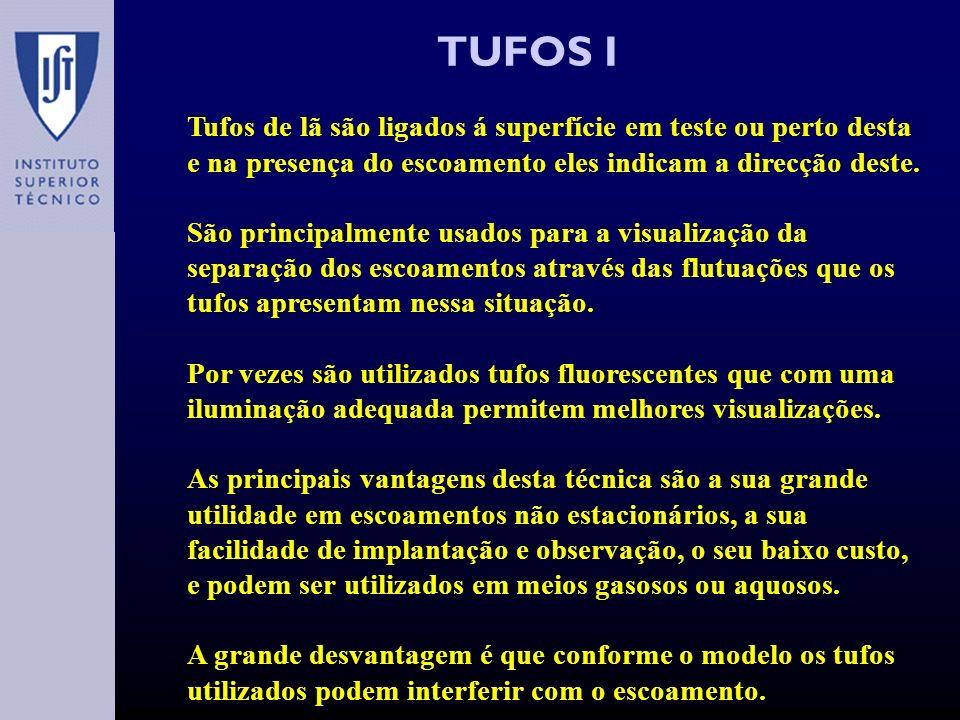 TUFOS I Tufos de lã são ligados á superfície em teste ou perto desta e na presença do escoamento eles indicam a direcção deste.
