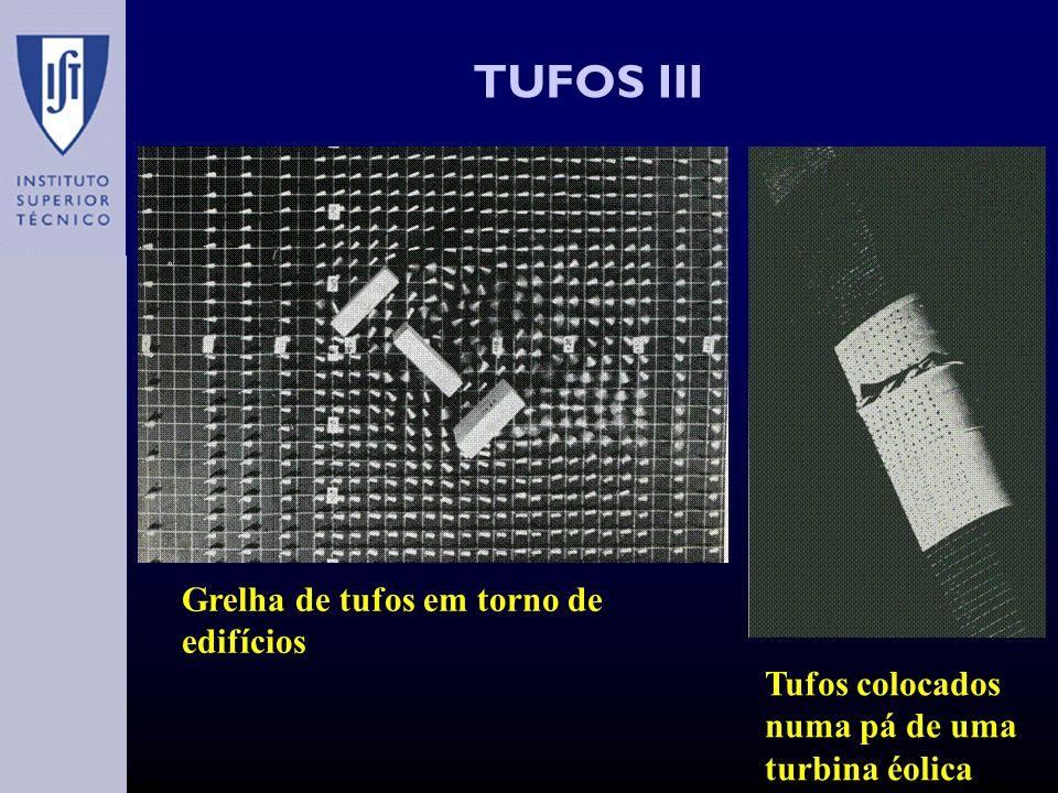 TUFOS III Tufos colocados numa pá de uma turbina éolica Grelha de tufos em torno de edifícios