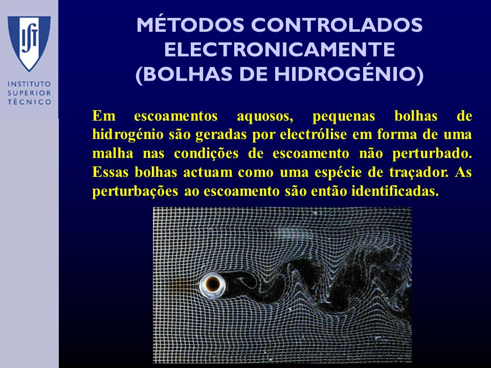 MÉTODOS CONTROLADOS ELECTRONICAMENTE (BOLHAS DE HIDROGÉNIO) Em escoamentos aquosos, pequenas bolhas de hidrogénio são geradas por electrólise em forma de uma malha nas condições de escoamento não perturbado.