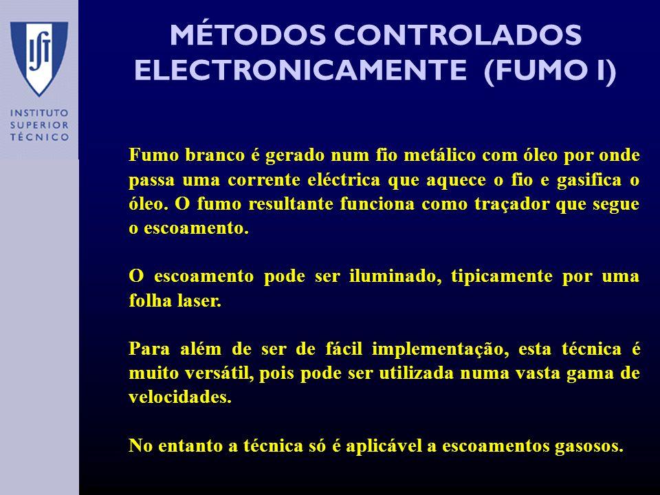 MÉTODOS CONTROLADOS ELECTRONICAMENTE (FUMO I) Fumo branco é gerado num fio metálico com óleo por onde passa uma corrente eléctrica que aquece o fio e gasifica o óleo.