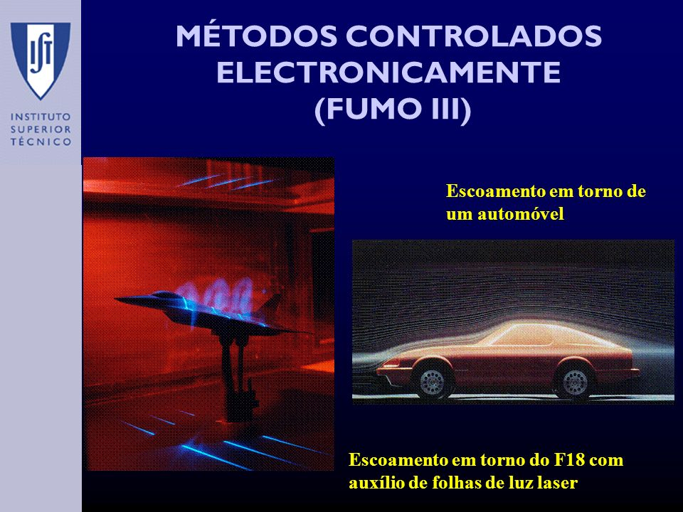 MÉTODOS CONTROLADOS ELECTRONICAMENTE (FUMO III) Escoamento em torno de um automóvel Escoamento em torno do F18 com auxílio de folhas de luz laser