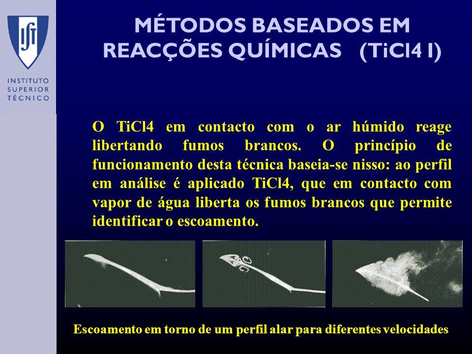 MÉTODOS BASEADOS EM REACÇÕES QUÍMICAS (TiCl4 I) O TiCl4 em contacto com o ar húmido reage libertando fumos brancos.