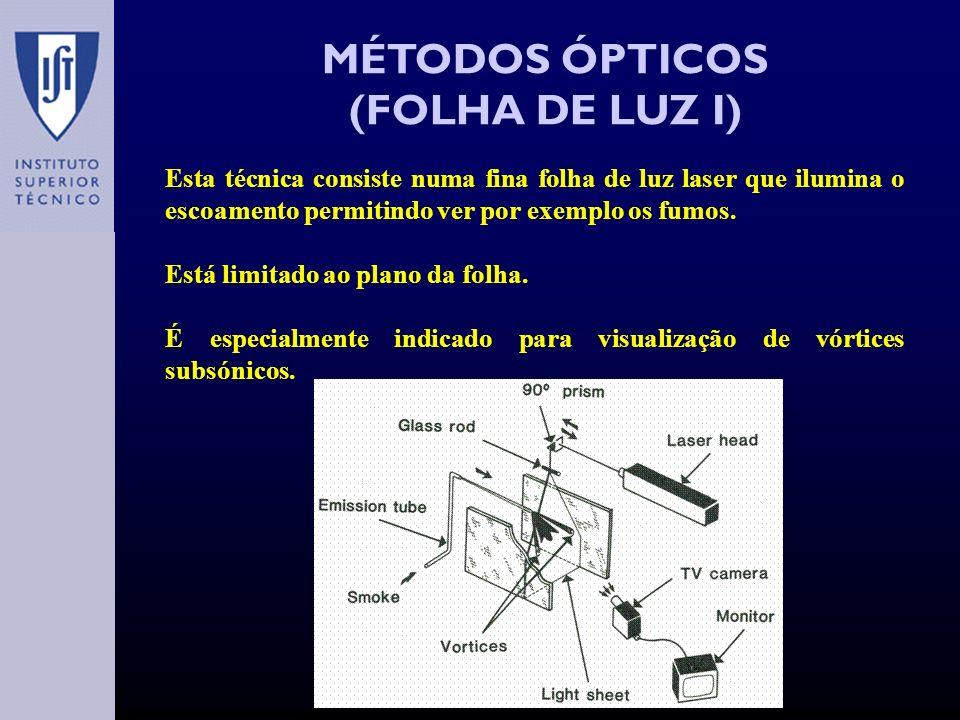 MÉTODOS ÓPTICOS (FOLHA DE LUZ I) Esta técnica consiste numa fina folha de luz laser que ilumina o escoamento permitindo ver por exemplo os fumos.