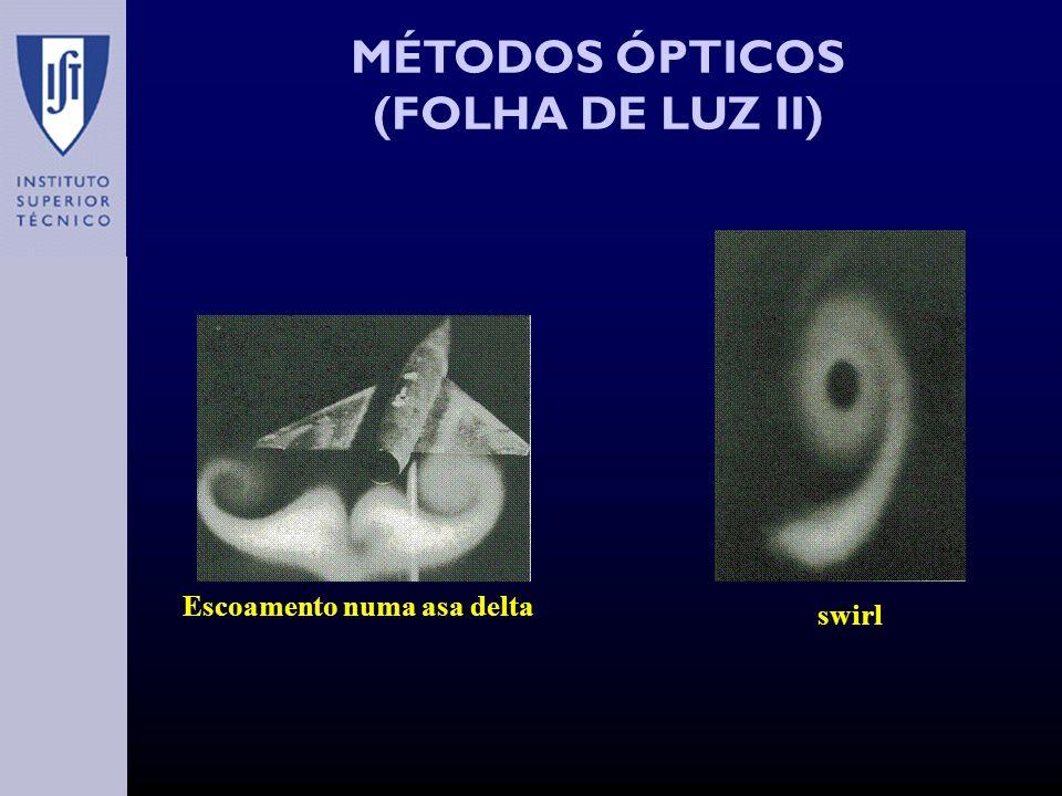 MÉTODOS ÓPTICOS (FOLHA DE LUZ II) Escoamento numa asa delta swirl