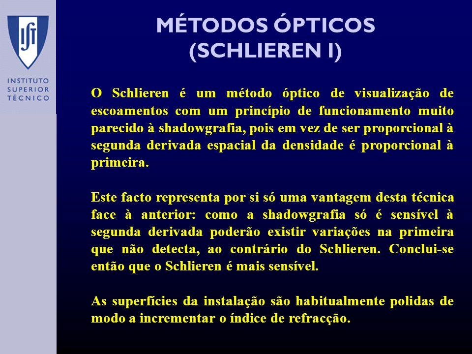 MÉTODOS ÓPTICOS (SCHLIEREN I) O Schlieren é um método óptico de visualização de escoamentos com um princípio de funcionamento muito parecido à shadowgrafia, pois em vez de ser proporcional à segunda derivada espacial da densidade é proporcional à primeira.