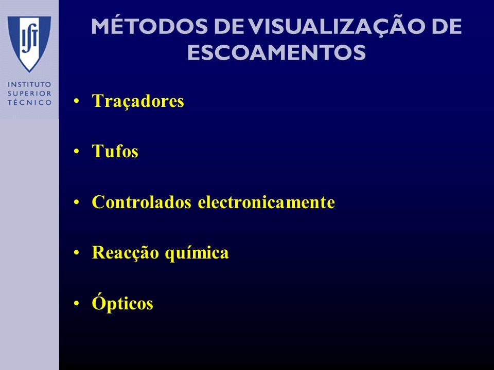 MÉTODOS DE VISUALIZAÇÃO DE ESCOAMENTOS Traçadores Tufos Controlados electronicamente Reacção química Ópticos
