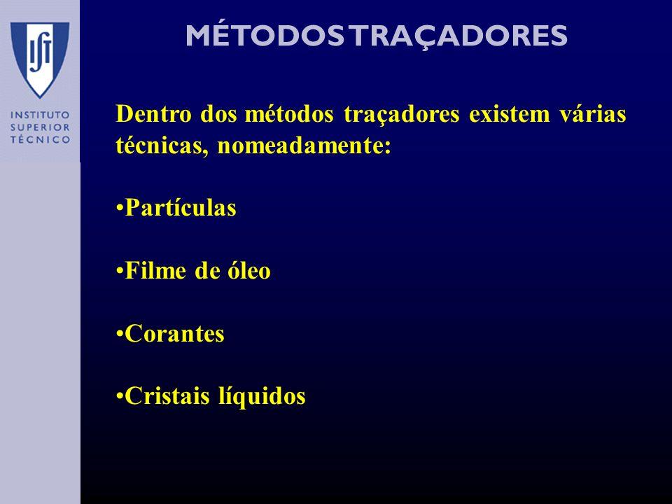 MÉTODOS TRAÇADORES (PARTÍCULAS I) Existem vários tipos de partículas usadas na visualização de escoamentos, como por exemplo: Pó de poliestireno (meio aquoso) Pó de alumínio (meio gasoso) Bolhas hidrogénio (meio aquoso) Bolhas hélio (meio gasoso) Bolhas vapor (água) A escolha do tipo de partícula tem que ser cuidadosa, de modo a que esta não interfira com o escoamento, ou seja, não seja solúvel no meio em causa, e a sua dimensão tem que ser tal que garanta que esta segue de facto o escoamento, mas que também não o altere.