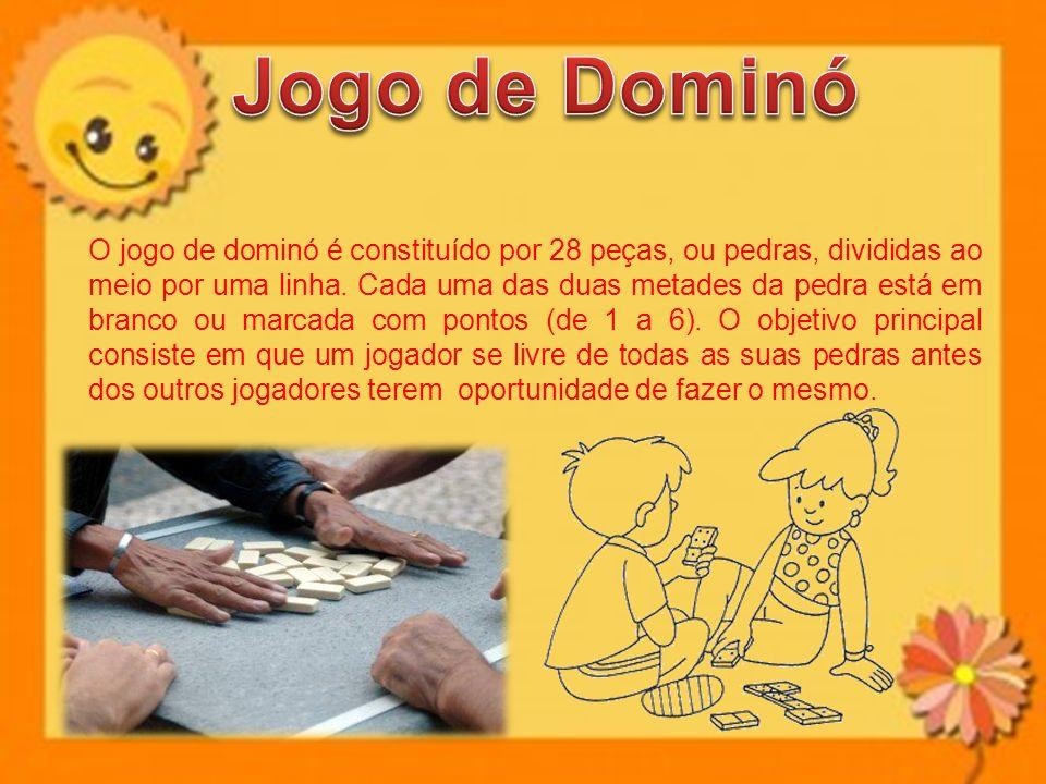 O jogo de dominó é constituído por 28 peças, ou pedras, divididas ao meio por uma linha.