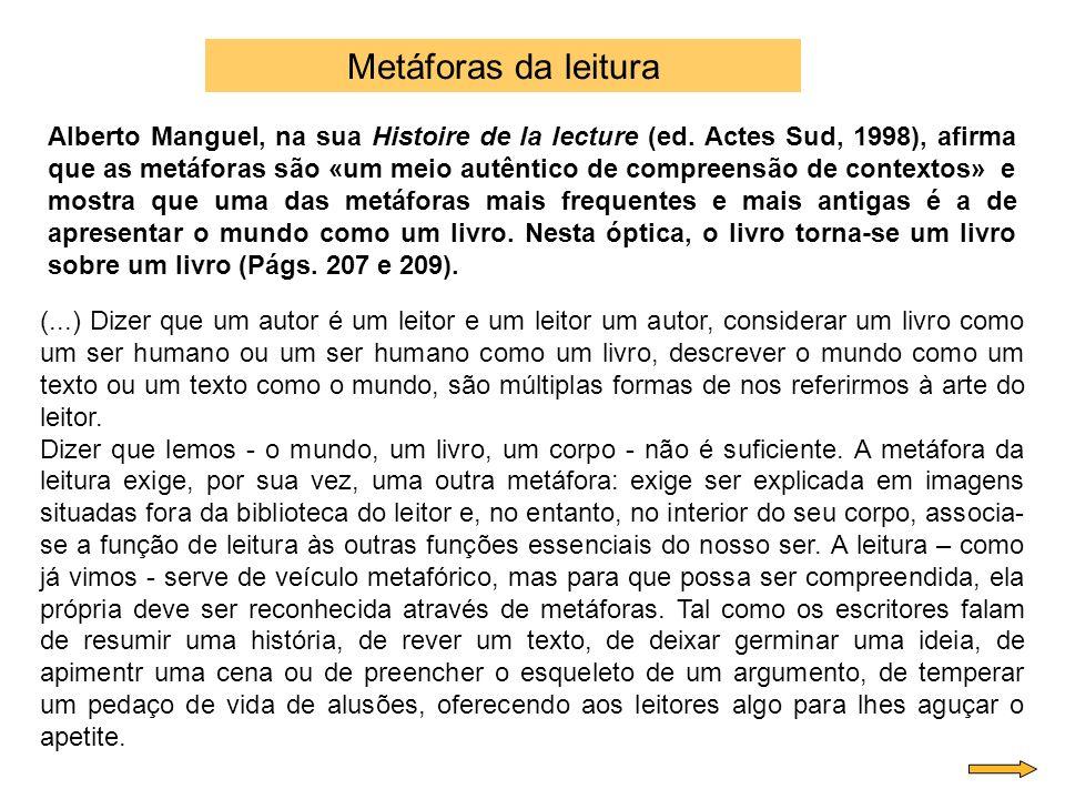 Alberto Manguel, na sua Histoire de la lecture (ed. Actes Sud, 1998), afirma que as metáforas são «um meio autêntico de compreensão de contextos» e mo