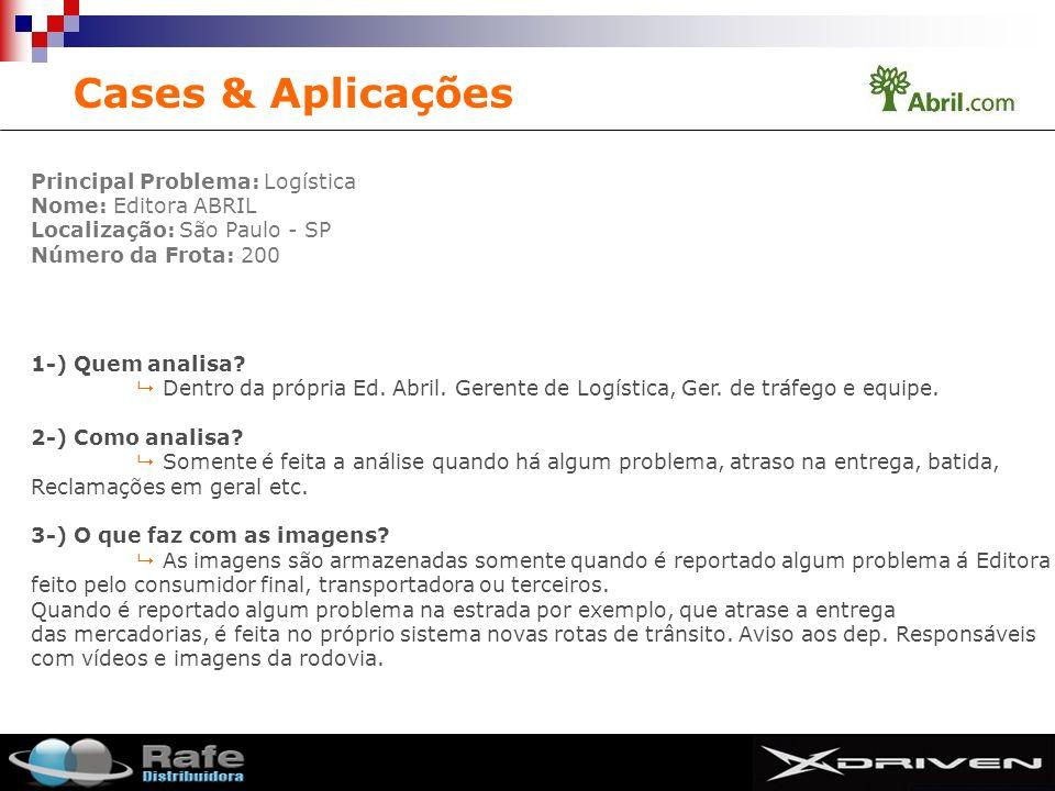 SMIT Principal Problema: Logística Nome: Editora ABRIL Localização: São Paulo - SP Número da Frota: 200 Cases & Aplicações 1-) Quem analisa? Dentro da