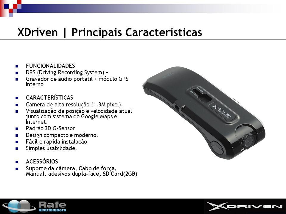 SMIT XDriven | Principais Características FUNCIONALIDADES DRS (Driving Recording System) + Gravador de áudio portatil + módulo GPS Interno CARACTERÍSTICAS Câmera de alta resolução (1.3M pixel).