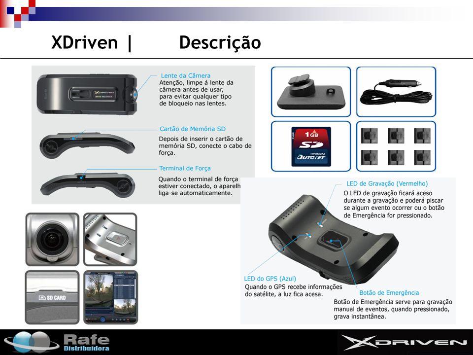 SMIT XDriven   Especificações ÍtensDescrição Resolução da Câmera1.3M pixel (CMOS) CPUTMS320DM320 OSLinux Sensor de Shock 3D G-sensor Interno GPS GPS (SiRF ) Module – Interno Gravação Tempo de gravação Pre-event: max 30 sec Post-event: max 30sec Resolução de vídeo320x240, 640x480,1280x960 Tipo de gravaçãoMPEG4 Video frameMax 30 fps Gravação de áudioSim ArmazenamentoArmazena até 8GB Acessóirios SD CardSD 2GB (Default) SuporteSim Cabo de ForçaSim Adesivos dupla-faceSim (6ea) Áudio PortátilSim (beep sound) ForçaDC 12/24V Dimensões (mm)129 x 50 x 35 Peso (g)110