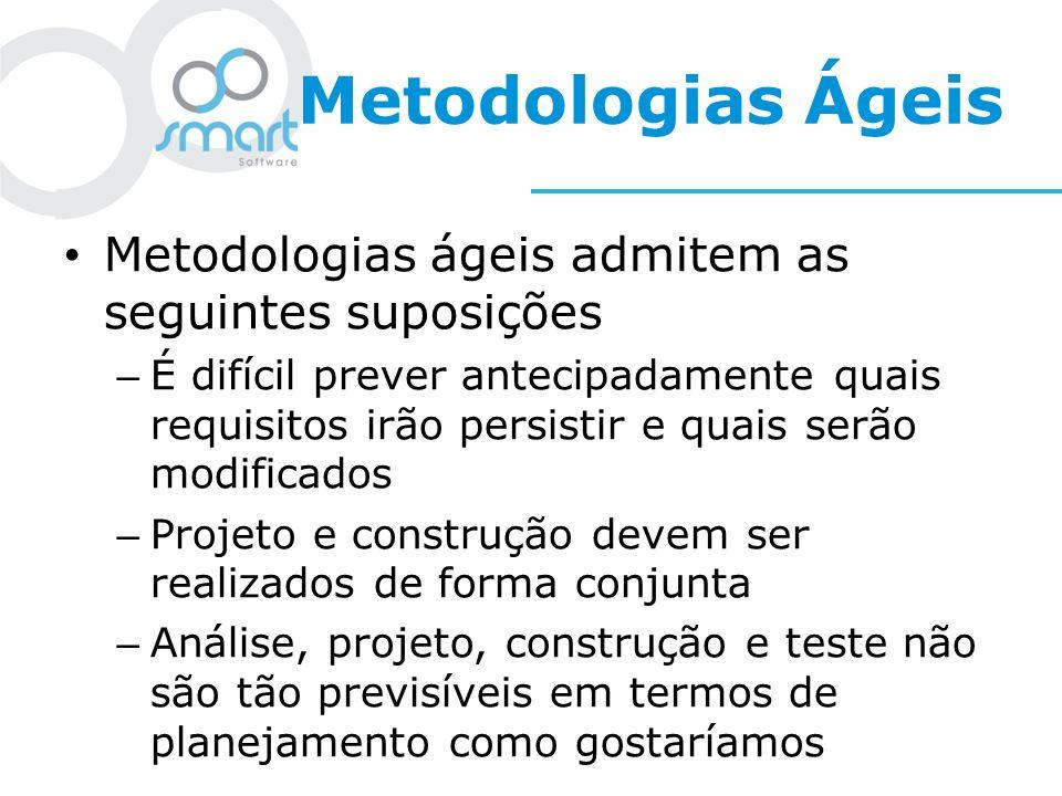 Metodologias Ágeis Metodologias ágeis admitem as seguintes suposições – É difícil prever antecipadamente quais requisitos irão persistir e quais serão