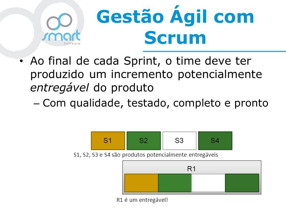 Gestão Ágil com Scrum Ao final de cada Sprint, o time deve ter produzido um incremento potencialmente entregável do produto – Com qualidade, testado,