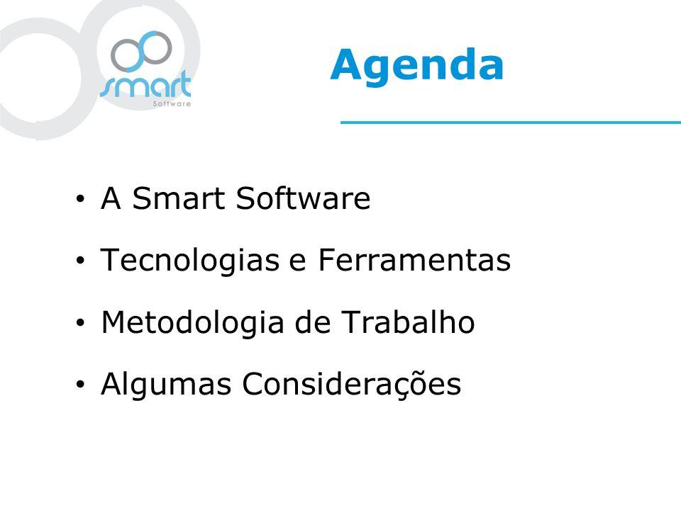 A Smart Software Foco no desenvolvimento e integração de soluções corporativas Parcerias baseadas em produtos open source Suporte a soluções open source Treinamento personalizado e de produtos de linha.