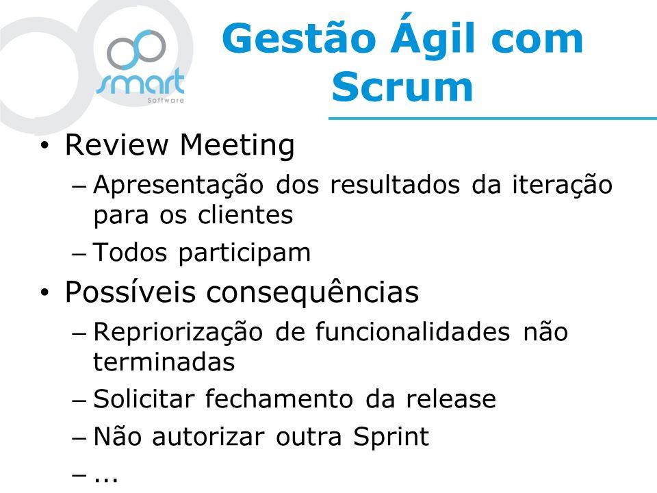 Gestão Ágil com Scrum Review Meeting – Apresentação dos resultados da iteração para os clientes – Todos participam Possíveis consequências – Reprioriz