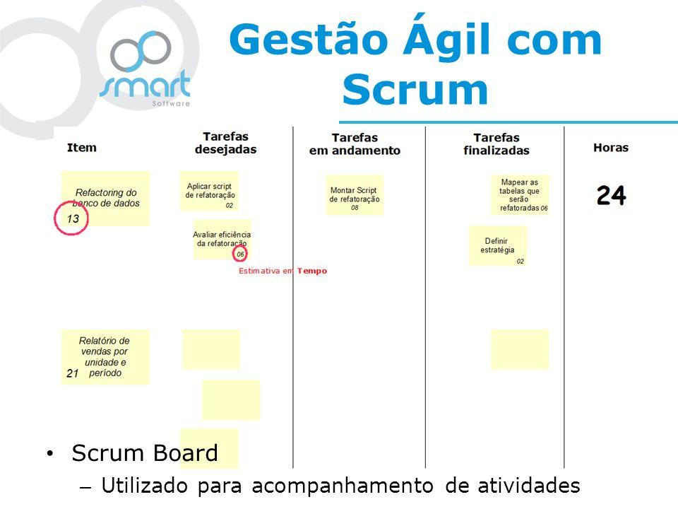 Gestão Ágil com Scrum Scrum Board – Utilizado para acompanhamento de atividades