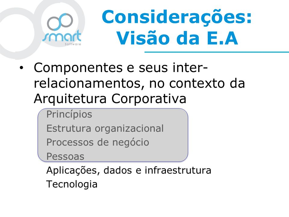Considerações: Visão da E.A Componentes e seus inter- relacionamentos, no contexto da Arquitetura Corporativa Princípios Estrutura organizacional Proc
