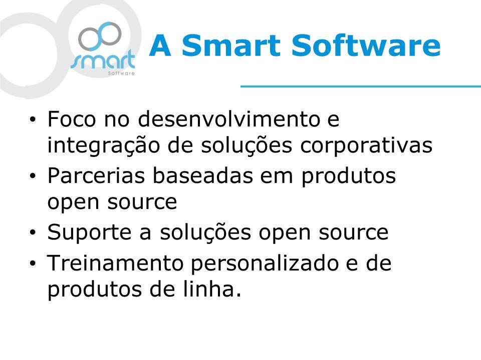 A Smart Software Foco no desenvolvimento e integração de soluções corporativas Parcerias baseadas em produtos open source Suporte a soluções open sour