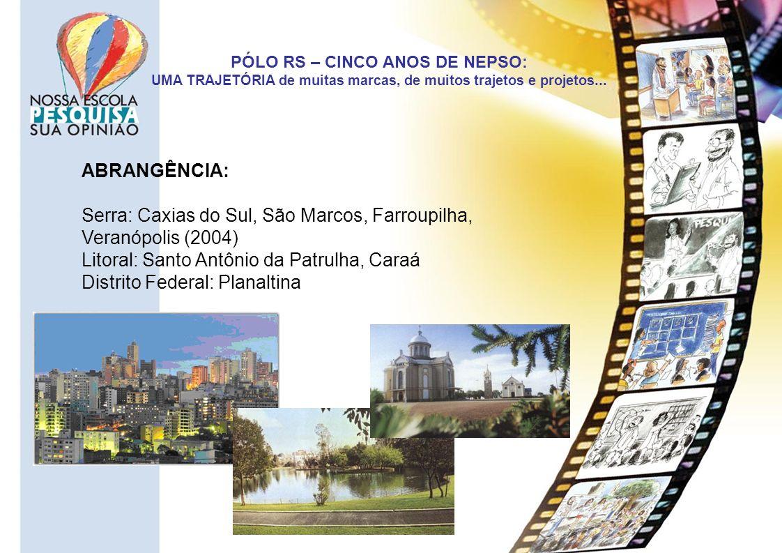 PÓLO RS – CINCO ANOS DE NEPSO: UMA TRAJETÓRIA de muitas marcas, de muitos trajetos e projetos... ABRANGÊNCIA: Serra: Caxias do Sul, São Marcos, Farrou