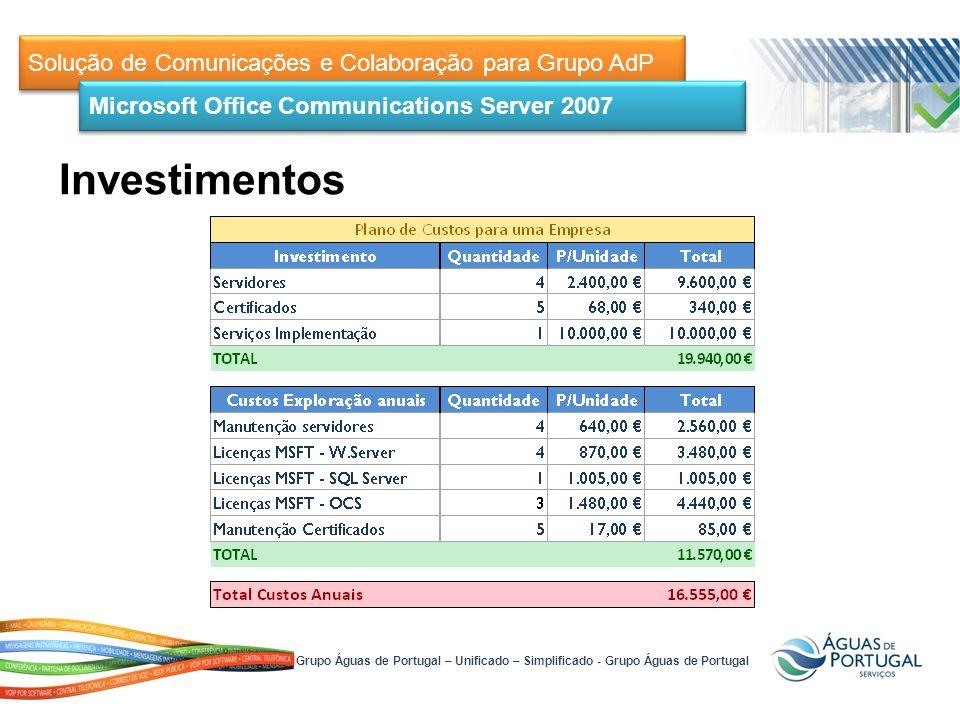 Solução de Comunicações e Colaboração para Grupo AdP Microsoft Office Communications Server 2007 Grupo Águas de Portugal – Unificado – Simplificado - Grupo Águas de Portugal Investimentos