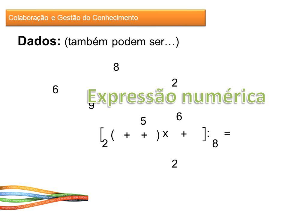 9 6 2 8 2 6 5 2 8 : = ] [([( + ++ x : ) Colaboração e Gestão do Conhecimento Dados: (também podem ser…)