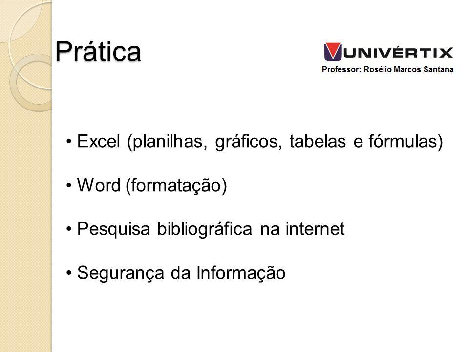 Excel (planilhas, gráficos, tabelas e fórmulas) Word (formatação) Pesquisa bibliográfica na internet Segurança da Informação Prática