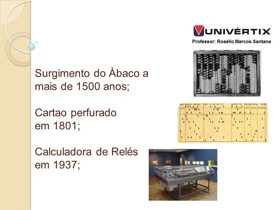 Surgimento do Àbaco a mais de 1500 anos; Cartao perfurado em 1801; Calculadora de Relés em 1937;