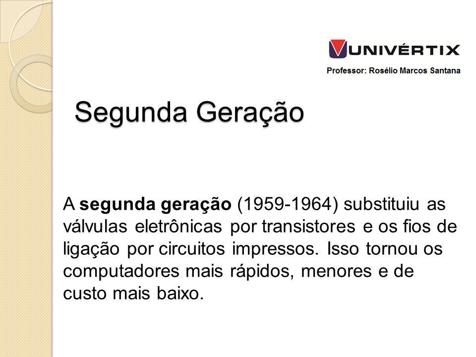 A segunda geração (1959-1964) substituiu as válvulas eletrônicas por transistores e os fios de ligação por circuitos impressos. Isso tornou os computa