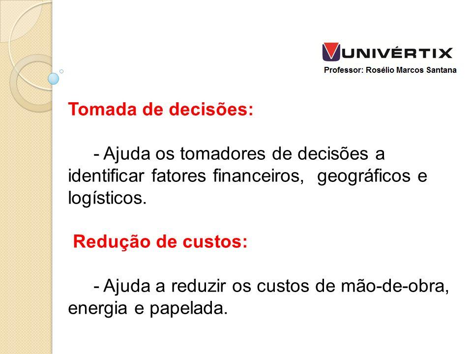 Tomada de decisões: - Ajuda os tomadores de decisões a identificar fatores financeiros, geográficos e logísticos. Redução de custos: - Ajuda a reduzir