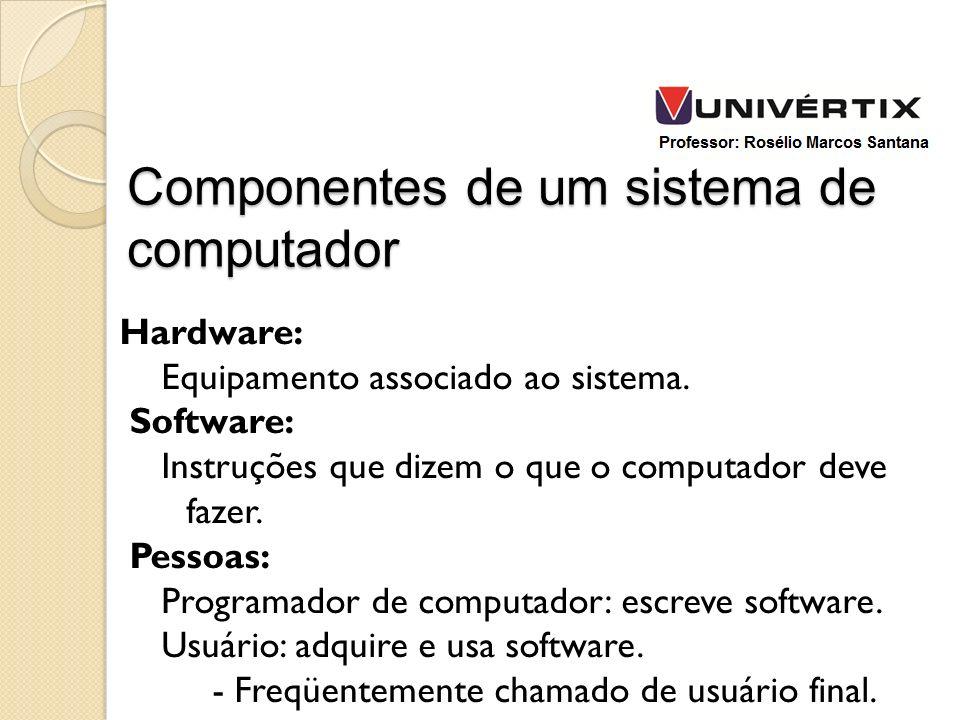 Hardware: Equipamento associado ao sistema. Software: Instruções que dizem o que o computador deve fazer. Pessoas: Programador de computador: escreve