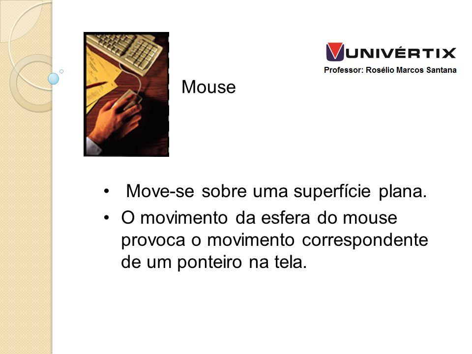 Move-se sobre uma superfície plana. O movimento da esfera do mouse provoca o movimento correspondente de um ponteiro na tela. Mouse