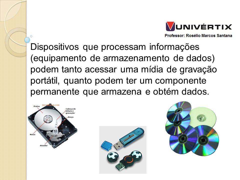 Dispositivos que processam informações (equipamento de armazenamento de dados) podem tanto acessar uma mídia de gravação portátil, quanto podem ter um