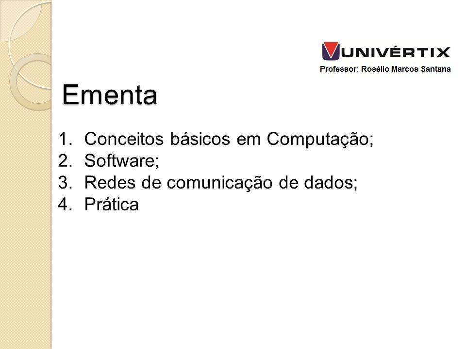 1.Conceitos básicos em Computação; 2.Software; 3.Redes de comunicação de dados; 4.Prática Ementa
